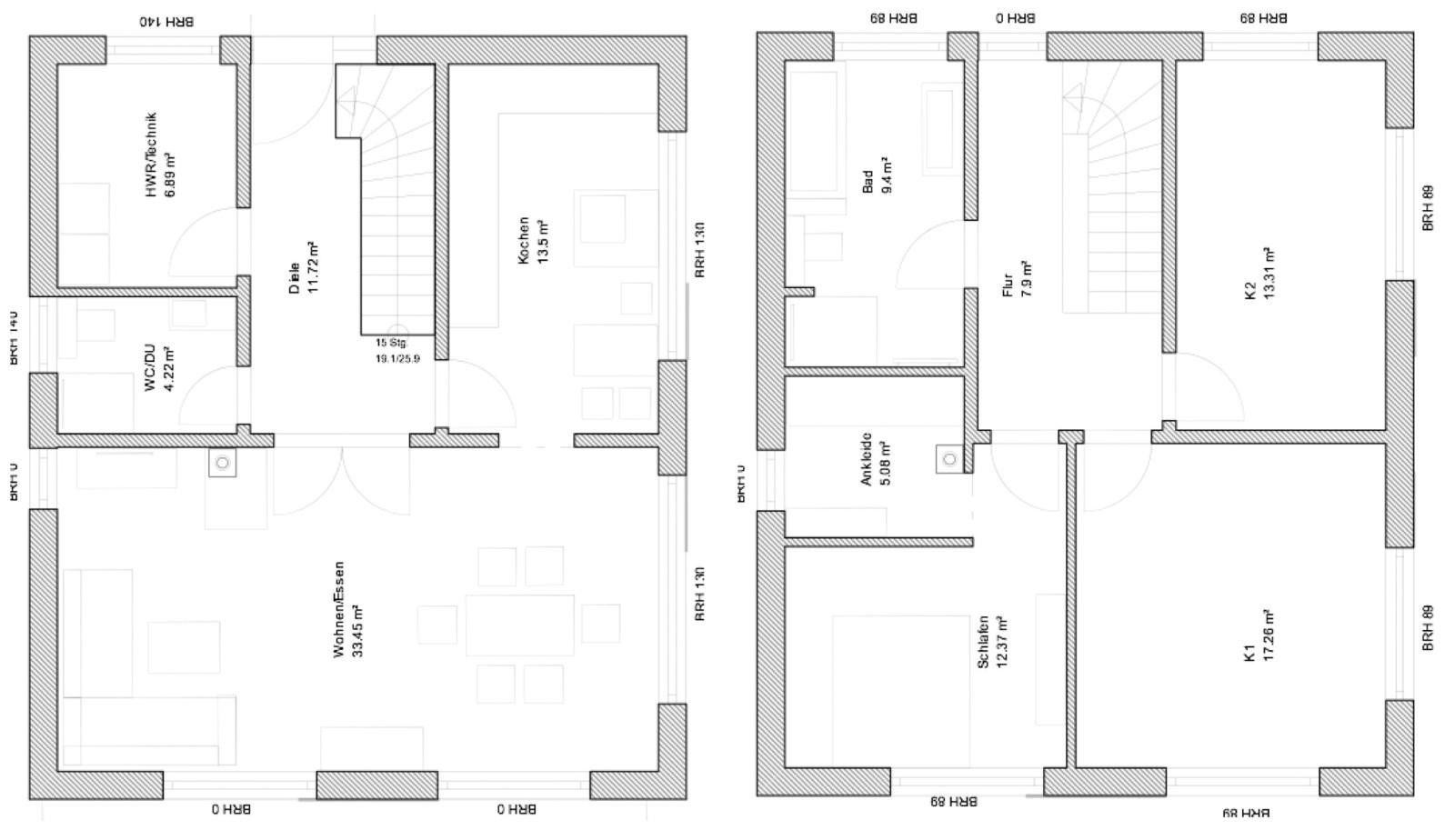 Grundriss stadtvilla 140 qm  Stadtvilla Daniela-Greussen ca. 136 m² - MHV Baupartner Massivhaus