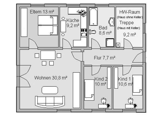 """Bungalow Grundriss Familie :  finden Sie in unserem Expose """"Einfamilienhaus Bungalow 99 m²"""