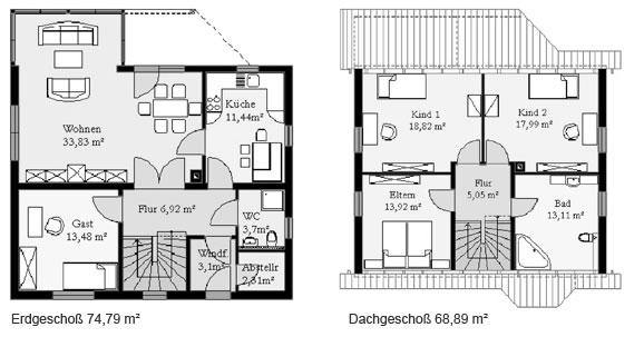 Massivhaus grundriss  Grundriss des Einfamilienhauses Konni von MHV Massivhaus Thüringen ...