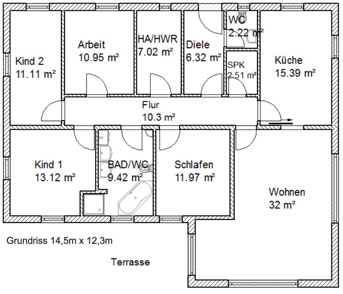 winkelbungalow olivia ca 134 m mhv baupartner massivhaus. Black Bedroom Furniture Sets. Home Design Ideas