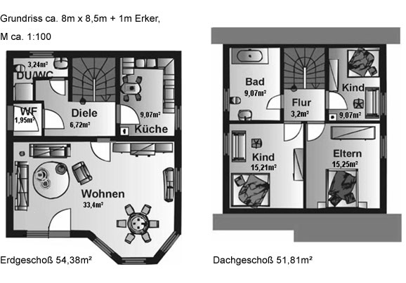 Lucie ca 110 m mhv baupartner massivhaus for Wohnhaus grundriss